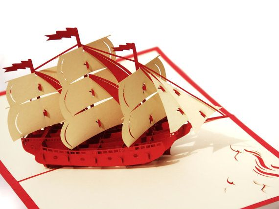 Pirate Ship Popup Greeting Card  Red Boat PopUp Paper by MilleMots, $9.75