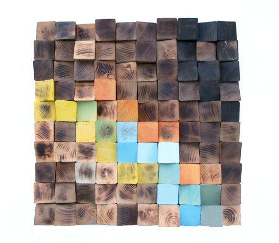 Wood wall Art Woodburning Reclaimed Wood mosaic by GBandWood