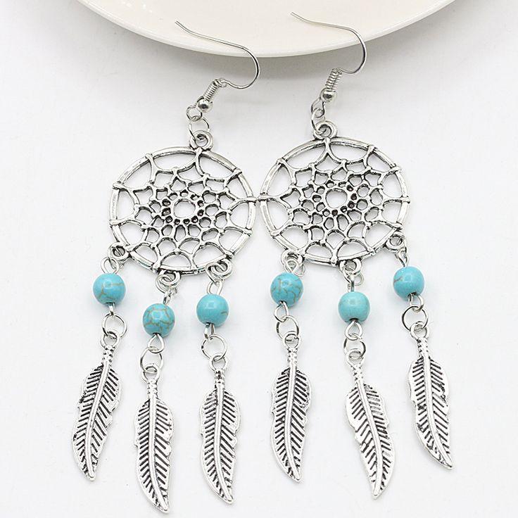 Silver Dream Catcher Drop Earrings Dangle Feather Turquoise Beaded Long Tassel Statement Charm Earring Women Bohemian Jewelry