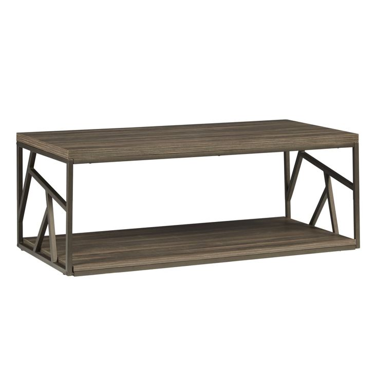 Lincoln Metal Contemporary Distressed Wood Coffee Table or Side Table by iNSPIRE Q Classic - Free Shipping Today - Overstock.com - 17494111 - Coffee Table