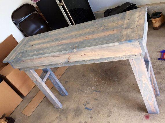 Rustic farmhouse table end table bar table by BeardedJoesWoodShop