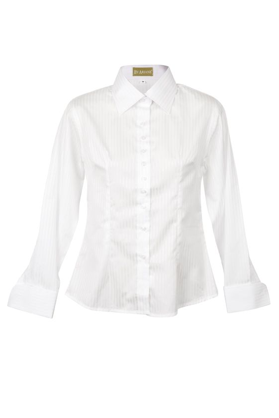 By Ariane's Alpine Stripe shirt dials up the sophistication factor with crisply executed menswear touches and an eye for feminine details. This work shirt is anything but basic. European cotton lends a luxe, satiny finish, while impeccable tailoring creates a flattering form. French cuffs and a barely there white-on-white stripe pattern elevate the piece to a new category: business formal at its best. http://www.byariane.com.au/DesignsByAriane-Stripe-white