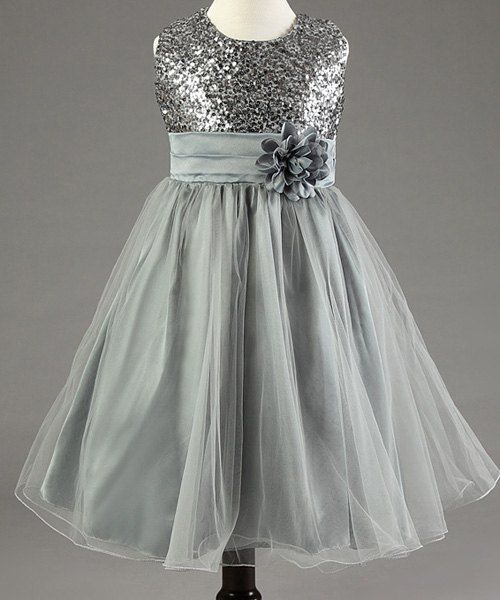 Sweet Sleeveless Round Neck Sequin Embellished Flower Princess Dress For Girls