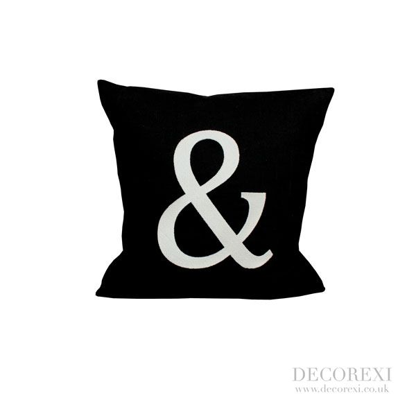 Black Cushion - Ampersand (or any letter). Hand stitched letters on a beautiful feather filled black linen cushion. This cushion would make an ideal wedding gift for the special Bride  Groom.
