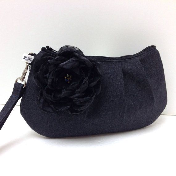 Pleated Clutch Wristlet Purse  Charcoal Gray with by LMcreation