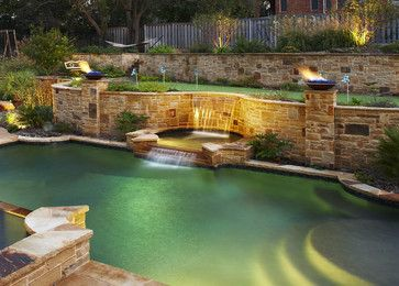 Pools landscapes and yard design on pinterest for Pool design for sloped yard