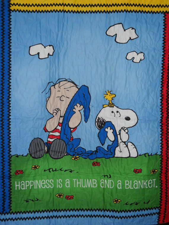 Linus, Snoopy and Woodstock: Happiness is a Thumb and A Blanket on Etsy, $60.00