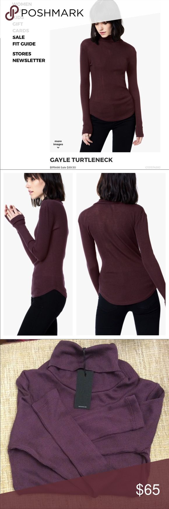 Joe's Jeans Silk Turtleneck So soft and the perfect addition to ur fall/winter addition. This is still selling on Nordstrom's website at 180. Gorgeous color and a cozy feel. Beautiful wine color Joe's Jeans Tops Tees - Long Sleeve