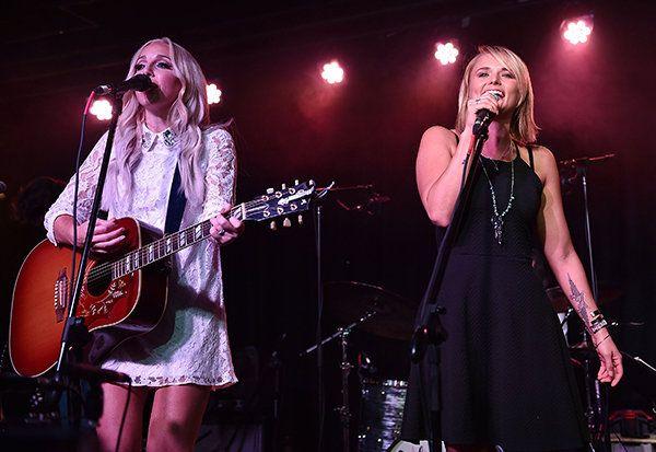 Ashley Monroe (left) and Miranda Lambert perform at the Ashley Monroe And Friends concert at The Basement East on July 22, 2015, in Nashville.