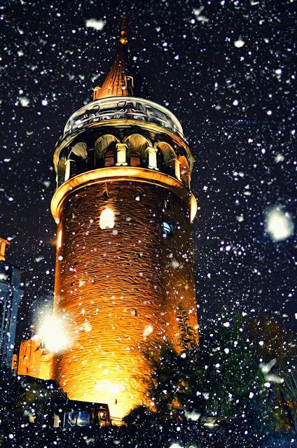 Galata Tower in snow - Istanbul, Turkey