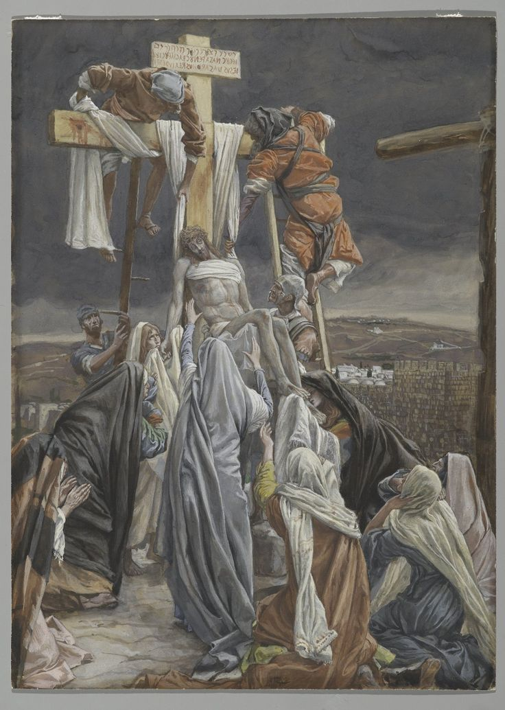The Descent from the Cross, illustration for 'The Life of Christ', 1884, James Tissot Medium: gouache, watercolor, paper