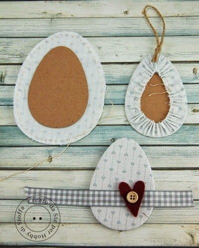 Country cottage style fabric scrap Easter egg docoration idea