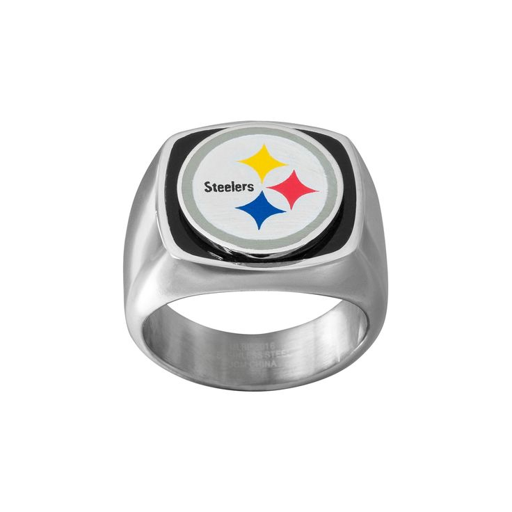 Men's Stainless Steel Pittsburgh Steelers Ring, Size: 10, Silver