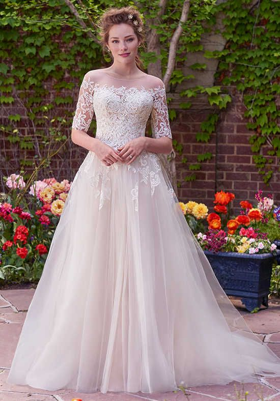 Tulle A-line with lace bodice and sweetheart neckline, lace jacket with three-qu…