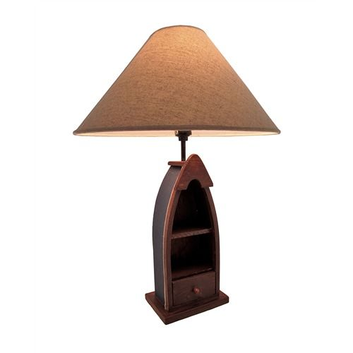 Wooden Row Boat Table Lamp With Shelves/Drawer 24 In.