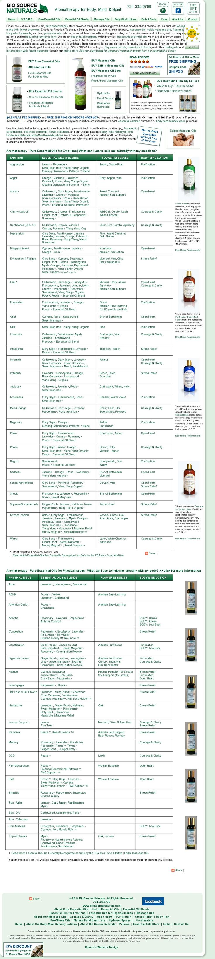 Chart of emotional and physical healing remedies for essential oils and flower essences.