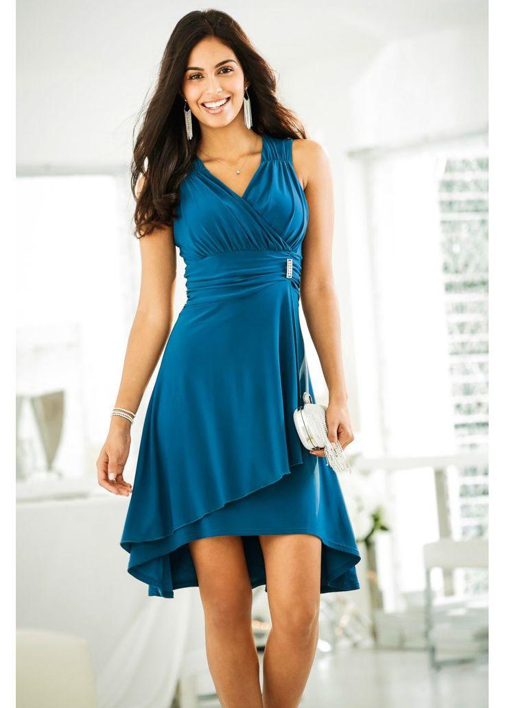 Atrakcyjna sukienka z dekoltem w serek z założeniem kopertowym i ozdobnymi…