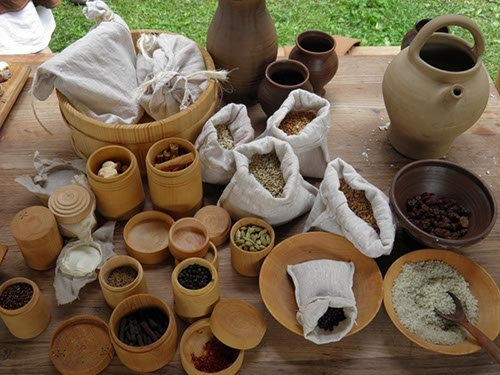 Display of common items. You can also teach about trade in the ancient world.