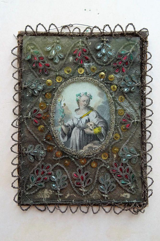 Antique Klosterarbeit Heilige ELISABETHA 1800 Memento Mori Santo Saint Roses  | eBay