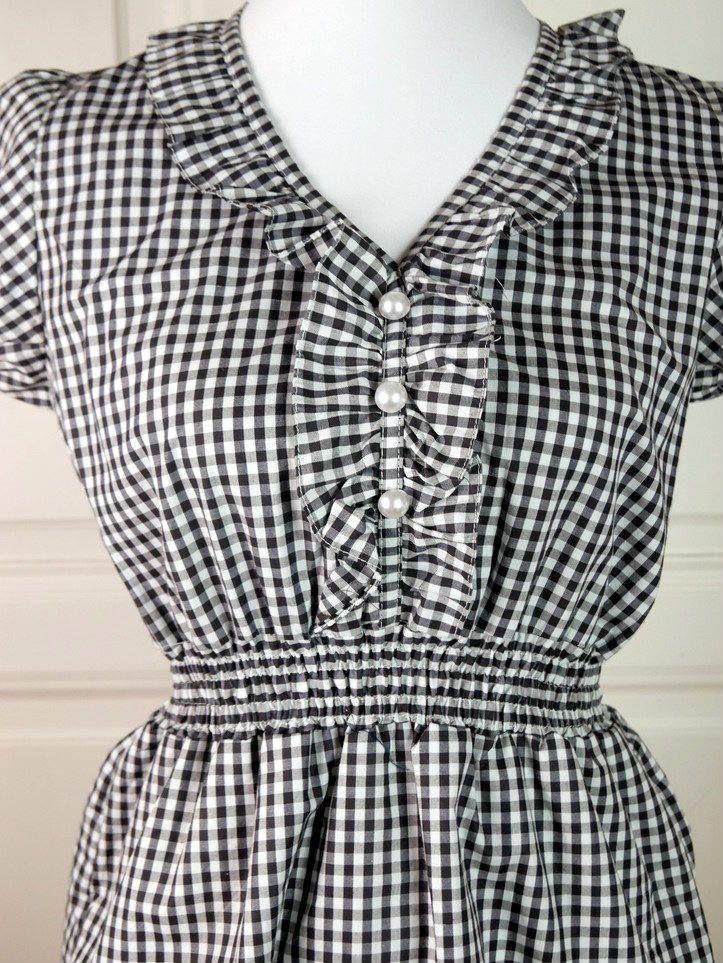 Hungarian Vintage Traditional Black White Checked Dress, 1990s Lanhausmode Dress, Black White Midi Dress, Young Dress: Size 8 US, Size 12 UK by YouLookAmazing on Etsy