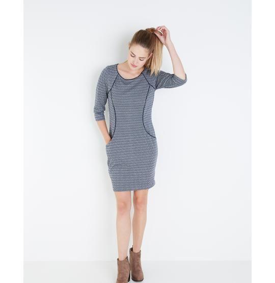Geometrische jurk met 3/4-mouwen - JBC Webshop BE - NL