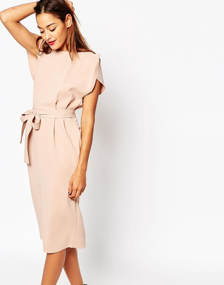 Image 4 of ASOS Belted Dress with Split Cap Sleeve and Pencil Skirt