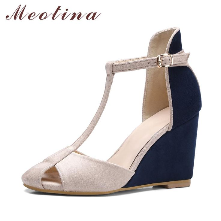 Meotina Shoes Women Pumps High Heels T -Strap Wedge Heels Fashion Ladies High Heel Shoes Cutout Party Pumps Blue Red
