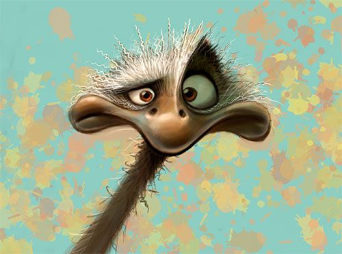 Funny Ostrich Character #character #animal #funny