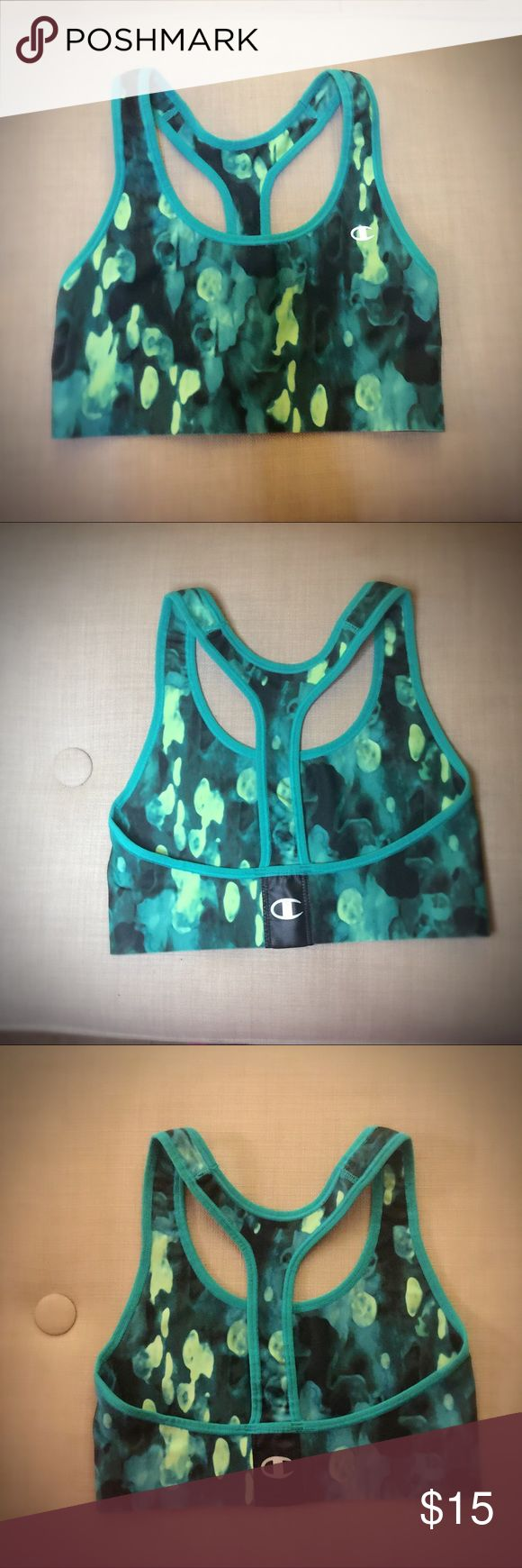 Champion Sports Bra Top Neon Greens Print Small Champion Sports Bra Top in Neon Greens Print, Size Small.  Very nice quality! Compression type fabric, very supportive but soft.  Bright shades of green mixed with forest green shades.  Worn once but sadly it was a little tight on me. Champion Intimates & Sleepwear Bras