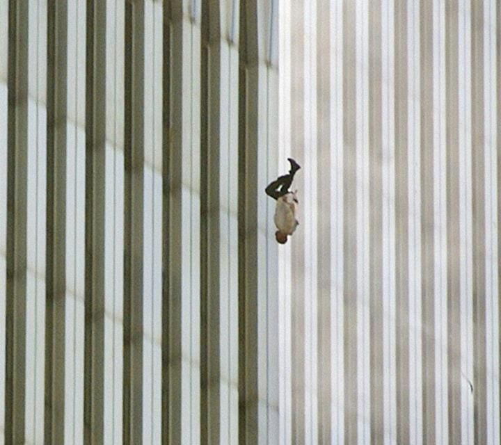 "Man Falling from the World Trade Center on 9/11. ""The Falling Man."""