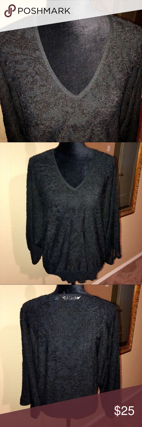 ♠️John Paul Richard Black Velvet Lace Batwing Top Preloved EUC !! Black batwing designed blouse with glittery velvet lace fabric! Nice v-neck makes it perfect for a beautiful necklace. Slightly sheer so would need to wear a cami underneath. Size Medium but due to design this is oversized! No fabric content tag but feels like a cotton/spandex blend! Perfect to wear with jeans, slacks or pencil skirt, any occasion! John Paul Richard Tops Blouses