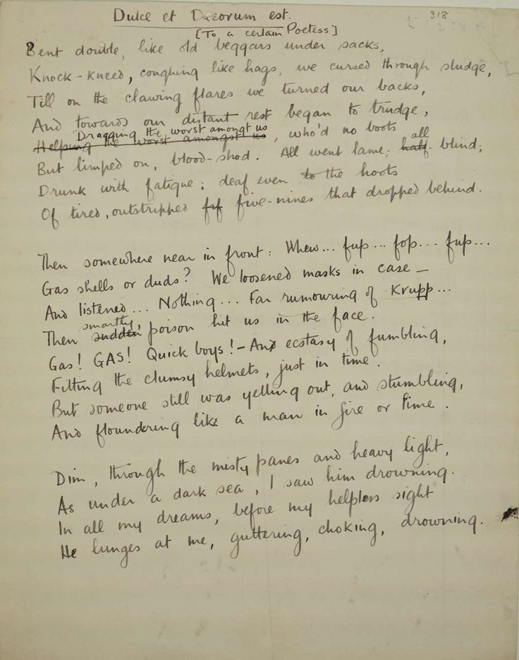 comparing dulce et decorum est and - analysis of dulce et decorum est by wilfred owen based on the poem of dulce et decorum est, by wilfred owen owens war poetry is a passionate expression of outrage at the horrors of war and of pity for the young soldiers sacrificed in it.