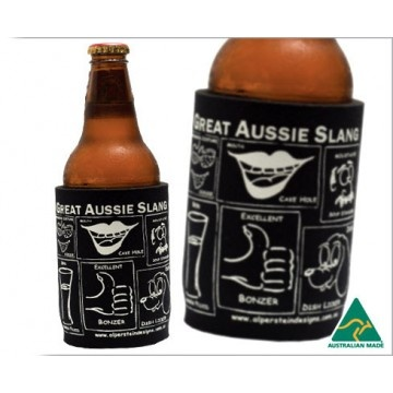 """Just want to sip your favourite beverage without the small party talk? Let the Aussie Slang Stubby Holder do the talking for you. Fits around a can or bottle while explaining Aussie rules of """"dish licker,"""" """"ankle biter,"""" """"bonzer"""" and more. AU$8.95 from Australian Gifts Online."""