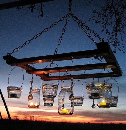 // outdoor chandelier.