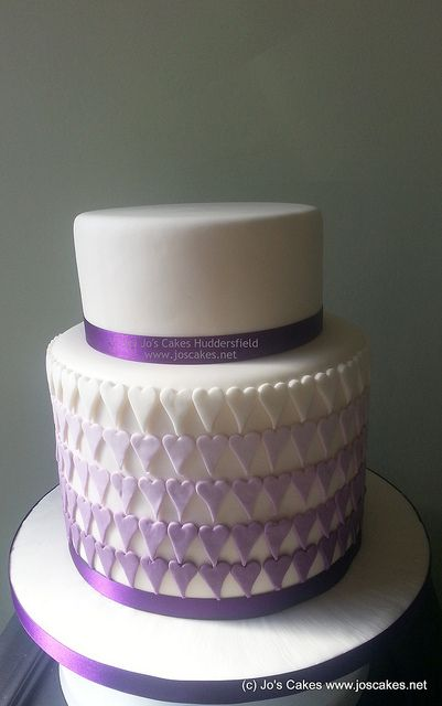 Purple Ombre Double Height Wedding Cake only 3 tiered w cake topper