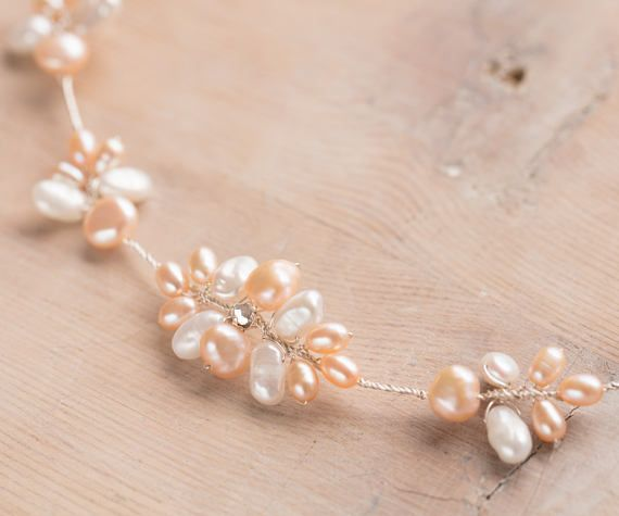 Pennard hair garland, bridal hair decoration in blush with Swarovski crystal and freshwater pearls.