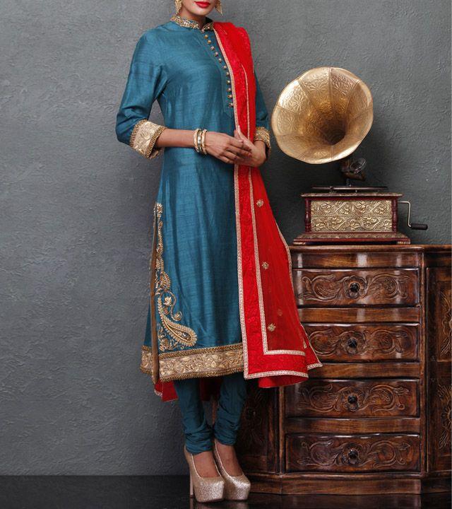 Blue Raw Silk Churidar Suit