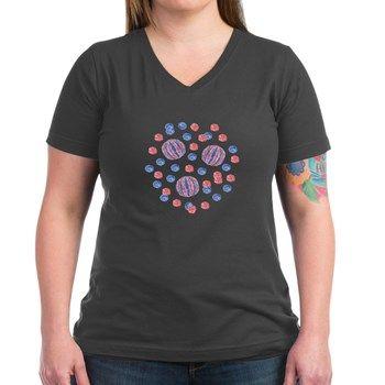 Women's V-Neck Dark T-Shirt With Balls