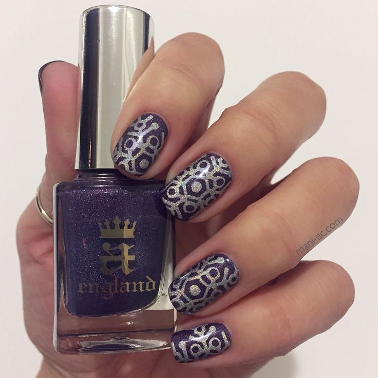 Stamped mani. A England - Lady of the Lake, Fonteyn  Bundle Monster Plate - S213 Seche Vite - Dry Fast Top Coat