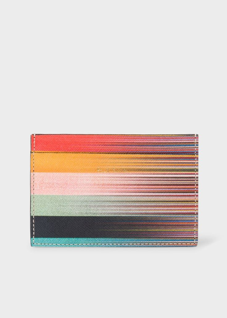 PAUL SMITH Men's Mixed-Stripe Leather Credit Card Holder. #paulsmith #