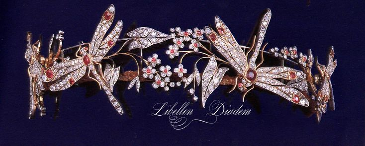 Ruby Dragonfly Tiara images - The tiara created by Chaumet circa 1900, it was inspired by nature. It is owned by Camilla of Bourbon-Two Sicilies, born Camilla Crociani.It  was purchased for Camilla, likely by her parents