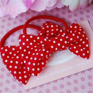 Mini Bow Hair Ties Red with White Spot - $9.95 - Handmade vintage inspired accessories for little girls, these gorgeous mini bow hair ties which add the finishing touch to your little ones piggy tails and pony tails. #sweetcreations #baby #kids #girls #hair #accessories #asterbelle #hairtie #accessorise