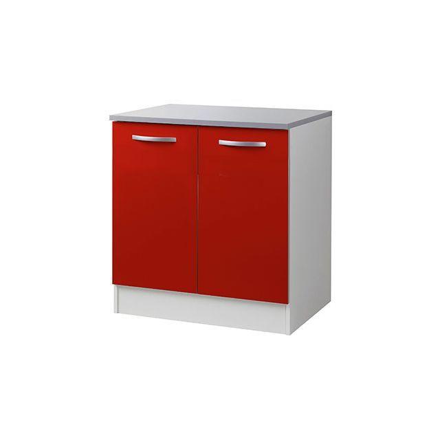 Meuble sous évier L80xH86xP60cm - rouge en 2019 | Cuisine en bois ...