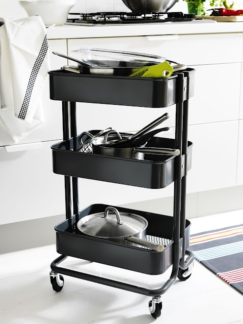 RASKOG Trolley from Ikea in grey (also comes in turquoise).  So many possible uses for this, it could be used in the kitchen, bathroom, children's rooms, home office, craft room, game room or garage just to name a few!
