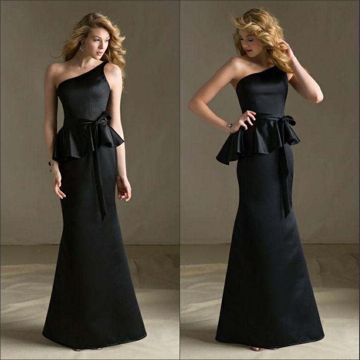 Mermaid One Shoulder Falbala Sash Black Dress Bridesmaid Long