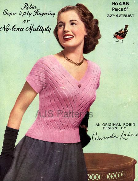 """PDF Knitting Pattern for a Pretty 1950s Retro Summer Top Jumper to fit 32"""" to 42"""" Busts"""