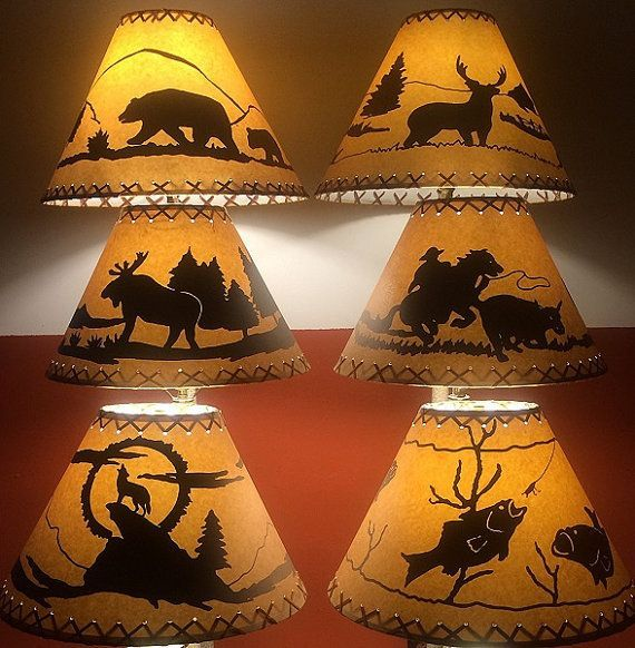 Bear Cowboy Coyote Deer Fish Or Moose Lamp Shades Perfect For Log Home Cabin Country Deco Rustic Lamp Shades Small Lamp Shades Painting Lamp Shades