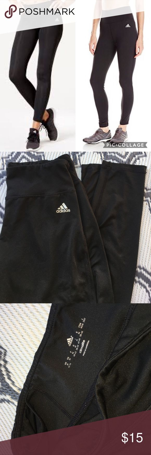 Adidas Black Women's Leggings Athletic High Rise Adidas Leggings. Size medium! Black with silver adidas logo. High rise with wide waistband for a smooth supportive fit. Climalite fabric which is great for staying dry. A key pocket is tucked in front. Like new. No holes or stains. Check out my other adidas merch for a bundle discount! adidas Pants Leggings