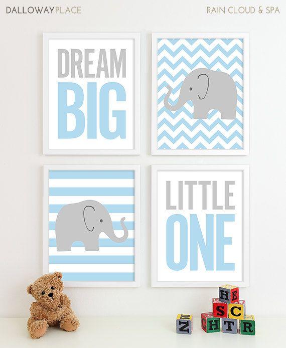 Baby Boy Nursery Decor Chevron Elephant Nursery Art, Kids Wall Art Baby Boy Gift for Boy Gift for Baby Boy Baby Gifts, 8x10