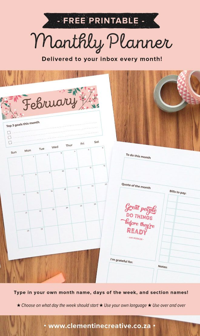 Get a free printable monthly planner page delivered to your inbox every month! Read more here.